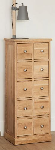 Mobel Oak 10 Drawer CD/ DVD Unit